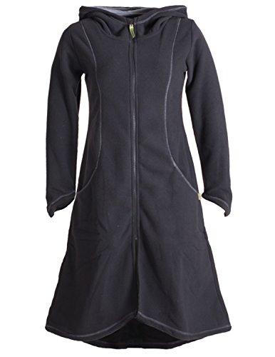 Vishes - Alternative Bekleidung - Langer Leichter ECO Fleecemantel für den Übergang mit großer Kapuze schwarz 36