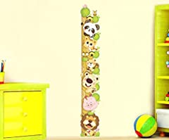 Idea Regalo - ufengke® Cartone Animato Gatto Leone Panda Adesivi Murali Con Metri (0-180 Cm), Camera dei Bambini Vivai Adesivi da Parete Removibili/Stickers Murali/Decorazione Murale
