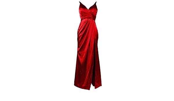 HotQueen HotQueenWomens Deep V Neck Spaghetti Strap Long Red Prom Dresses 2016 With Slit: Amazon.co.uk: Clothing