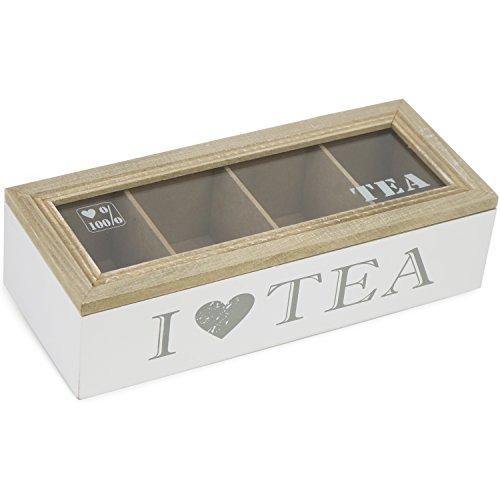 com-four® Aufbewahrungsbox für Tee und Teebeutel, weiße Teebox aus Holz mit braunem Deckel, 4 Fächern und Sichtfenster, 26,3 x 6,9 x 11 cm (01 Stück - 26.3x6.9x11cm - weiß)