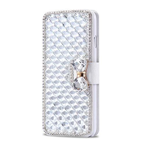 lle Retro Schön Glänzend Glitzer Diamant Schmetterling Schutzhülle Brieftasche Ledertasche Handyhülle Mädchen Frau Flip Wallet Case Kompatibel mit iPhone 4/4S - Weiß ()