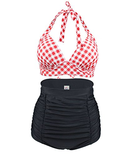 Laorchid Rockabilly 1950s Damen Hohe Taillen Badeanzug Bikini Neckholder Bügellos Kariert Rot & Weiss M