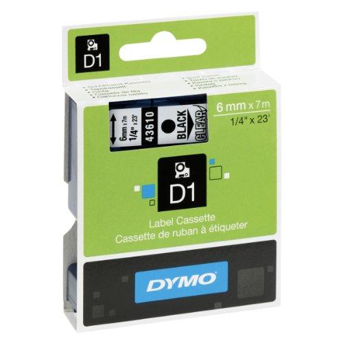 Dymo S0720770 D1-Etiketten (Selbstklebend, für den Drucker LabelManager, 6 mm x 7 m Rolle) schwarz auf transparent