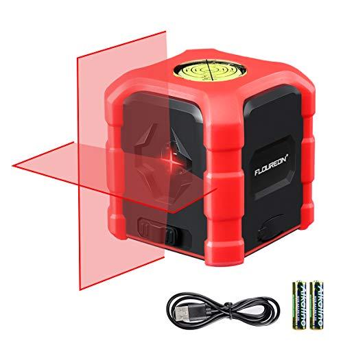 Floureon Kreuzlinienlaser Selbstnivellierend Linienlaser mit Wasserwaage 2 AA Batterien Ladekabel IP54 Staub und Spritzwasserschutz Rot 10M
