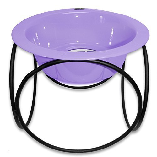 Platinum Pets Platinum Pets 8-Cup Olympic Single Diner Stand with Wide Rimmed Bowl, Sweet Lilac by Platinum Pets - Rimmed Bowl
