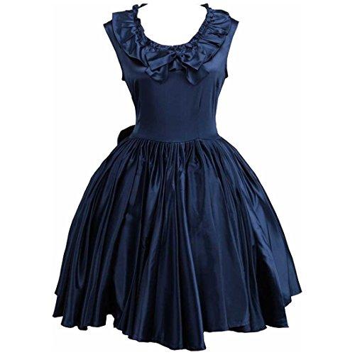 Partiss Damen aermellose Ballkleid gotische Lolita Abendkleid mit Bowknot,XXL,Navy