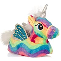 Dannii Matthews Vibrant Ladies, Womens, Girls Novelty 3D Unicorn Slippers with Horn, Mane, Tail and Wings, Rainbow, Sizes 3-8