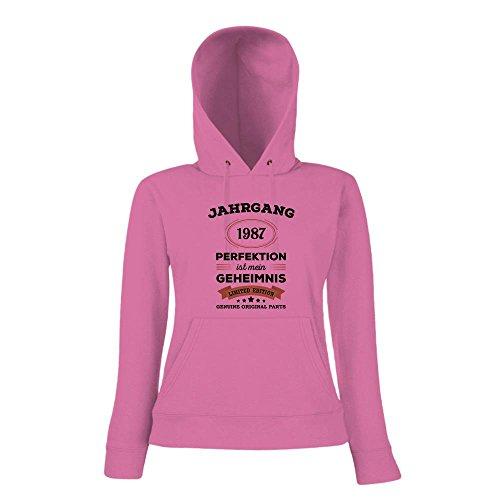 Jahrgang 1987 Hoody | Geburtstags-Hoody | Perfektion ist mein Geheimnis | 30. Geburtstag | Frauen | Kapuzenpullover © Shirt Happenz Pink
