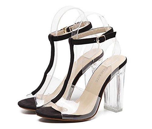 GLTER Cinturino di donne pompe ad alta Heelssandals Roma Fashion Shoes scarpe di cristallo sandali all'aperto Black
