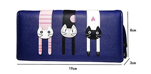 Hippolo Cute Cat borsa del portafoglio Bifold da donna con la chiusura lamp (Blue) Blue