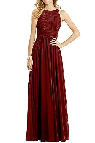 Ssyiz Elegantes gefaltetes Chiffon Fußboden Längen Abend Partei Kleid der Frauen brautjungfernkleid (Alle Kleider Werden Maßgeschneidert Geliefert) (46, Burgundy)