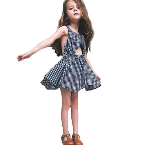 feiXIANG Mädchen Rock Baby Prinzessin Rock ärmelloses Kleid Sommer Tutu Kleid Mädchen Plaid gestreiftes Kleid (130, Navy) (Plaid-rock Navy)