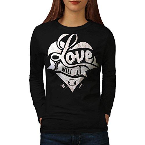 Amour-Volont-Gurir-Toi-Romantique-La-Femme-NOUVEAU-Noir-manches-longues-T-shirt-S-2XL-Wellcoda