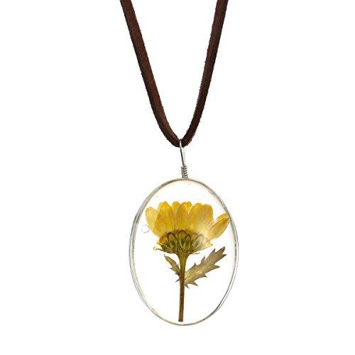 Tinksky Damen Kette Getrocknete Blumen Halskette mit Leder Seil Sonnenblume -
