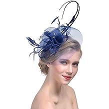 4fda07ef501bd Yujeet Moda De Mujer Transparente Sombreros Y Tocados Completo Floral Forma  Pluma Hecha A Mano Novia