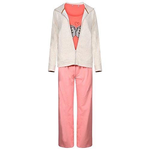 Ex Highstreet - Ensemble de pyjama - Femme crème crème Taille Unique Pink & Orange