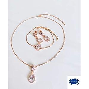 ZIRKONIA Brautschmuck rosegold Schmuckset Hochzeit Ohrringe Kette dezent schlicht elegant tropfen tropfenform