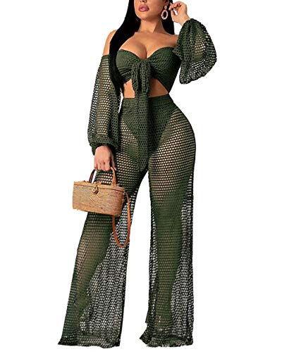 ThusFar Damen Mesh-Outfits 2-teilig Sexy Schulterfrei Durchsichtige Tops Flare Bell Bottom Wide Leg Jumpsuit Strampler - grün - Mittel Bell-bottom-jumpsuit