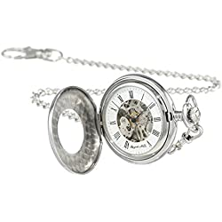 Regent Hills Silver Stainless Steel Mechanical Half Hunter Skeleton Pocket Watch With Chain 56976S-W2