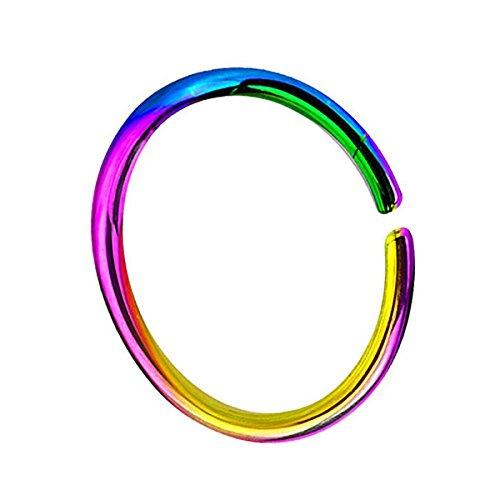Piersando Continuous Piercing Chirurgenstahl Fake Hoop Ring für Septum Ohr Tragus Helix Nase Lippe Ohr Nasenpiercing Nasenring Rainbow 0,8mm x 6mm (Echtes Sterling Silber Nase Ringe)