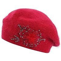 Boina de Las señoras de la Primavera y el otoño Mujer Sombrero Pintor Cálido Sombrero de Piel de Conejo Salvaje Amarillo Sombrero de Arce Sombrero Casual Boina Moda,Red