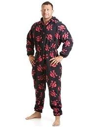 Combinaison pyjama en polaire - motif tête de mort - homme - noir/rouge - taille S à XL