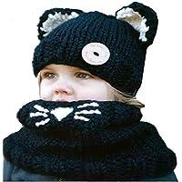 Aclth Chicos de Invierno para niñas Los niños del Invierno calientan los Sombreros del Gato Bufanda Hecha Punto de la Capilla para el otoño Invierno para Actividades de Snowboard al Aire Libre