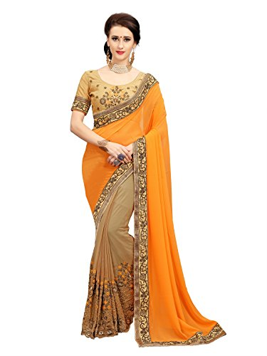 Glory Sarees Women's Georgette Saree(diva102orange_orange)