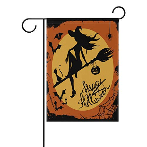 ASKYE Happy Halloween Witch Black Cat Double Sided Garden Yard Flag, Moonlight Bat Spider Web Decorative Garden Flag Banner for Outdoor Home Decor Party(Size: 28inch W X 40inch H)