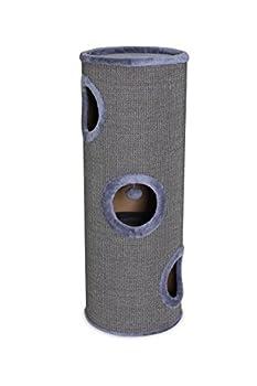 Dibea - Tonneau griffoir colonne avec sisal pour gratter, plateau avec peluche pour chat - Gris - Hauteur 100 cm