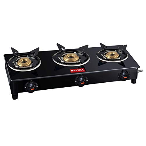 Baltra Olivia Glass Top 3 Burner Gas Stove Black (2 year warrannty with doorstep service)