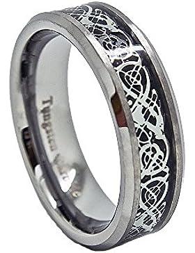 7mm Satin Finish Wolframcarbid mit keltischen Drachen Inlay Hochzeit Band (Größen H–Z + 3)