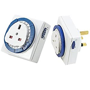 CostMad TM 24 hour 24hr 24r 30 Minute Rundown Mains Wall Home Plug In Mechanical Segmented Timer Switch Socket Time Clock Adjustable Programme with Manual Override Home Security Energy Saver 13A 240V for UK 3 Pin Plug