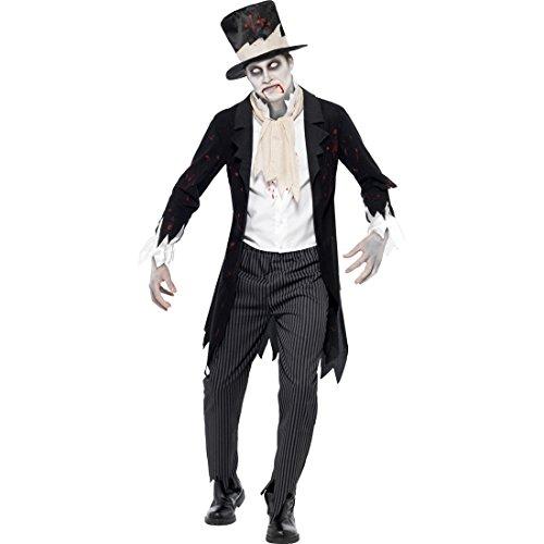 Travestimento marito zombie costume da sposo fantasma m 48/50 vestito notte dei morti viventi nobiluomo abito gotico da uomo maschera halloween gentiluomo horror mascheramento spettro terrificante