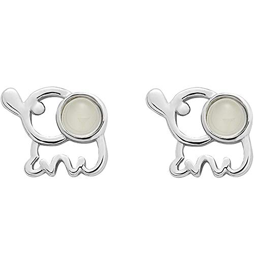 S925 plata de ley ojo de gato pequeños pendientes de elefantes femeninos...