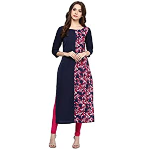 ZIYAA Women's Straight Crepe Kurta Best Online Shopping Store