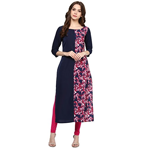 ZIYAA Women's Straight Crepe Kurta (ZIKUCR444-XXL_Multicoloured)