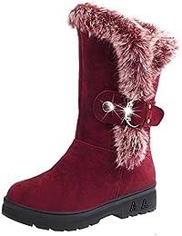 Damen Winterstiefel Warm Gefüttert Boots- Frauen Schlupfstiefel Winterschuhe Outdoor Stiefel Halbschaft Flach Schuhe Winter Highdas