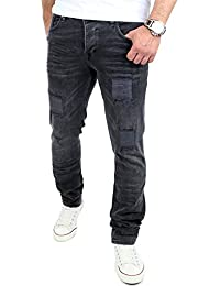 Reslad Jeans-Herren Destroyed Look Slim Fit Stretch Denim Jeans-Hose RS-2072