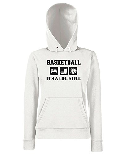 T-Shirtshock - Sweats a capuche Femme OLDENG00242 sleep eat play basketball Blanc