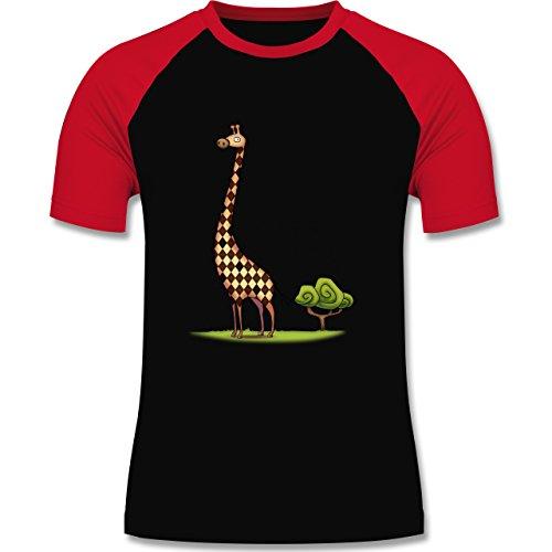 Wildnis - Lange Giraffe - zweifarbiges Baseballshirt für Männer Schwarz/Rot
