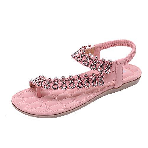 JiaMeng Mode Frauen Böhmen Mädchen Blume Strass Flache Sandalen Outdoor Schuhe Peep Toe Schuhe Sommer Sandalen