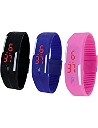 LED Watches Unisex Bracelet Wrist Watch Combo Of 3 (Black,Pink And Blue) By My Time Machine