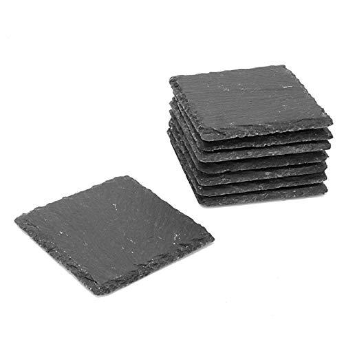 Maison & White Packung Schiefer Untersetzer | Fine Cut Quadratisches Set | Hitzebeständiger Easy Clean Naturstein | Rutschfeste Basis (8) -