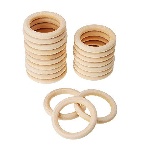20 Stück Holz Ringe Hölzern Ringe für Handwerk, Ring Anhänger und Anschlussstück Schmuck Machen (70 mm)