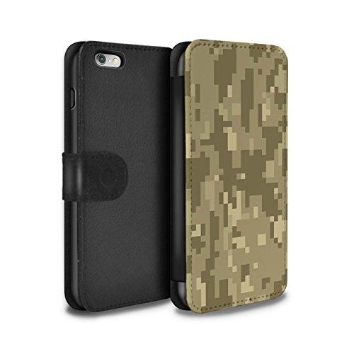 Stuff4® PU-Leder Hülle/Case/Tasche/Cover für Apple iPhone 6S+/Plus/Brauner Cadpat Digital Muster/Militär Camouflage Tarnung Kollektion