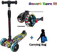 DERAK Scooters for Kids 3 Wheel T-bar Balance Riding Kick Scooters Foldable Height Adjustable LED PU Flashing