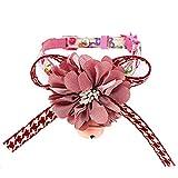 jianchangsheng Hundehalsband, modisch, mit Schleife und Glöckchen, verstellbar, Größe M, Rosa