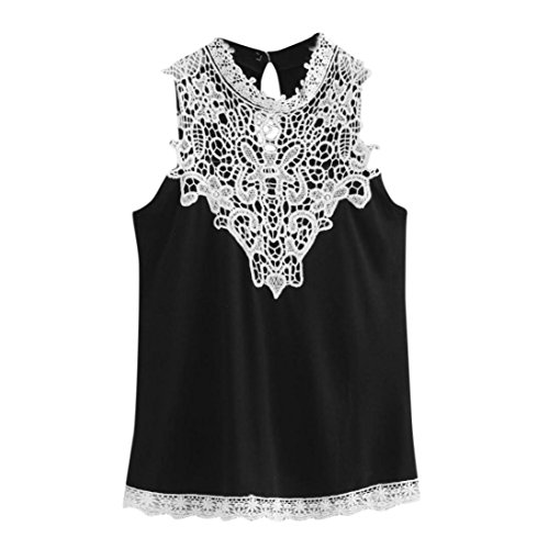 Kobay Tank Tops Women Fashion Summer Casual Lace VestSleeveless T-Shirt Blouse