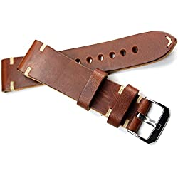 22mm RIOS Handmade Leather Band White Stitching 22/20Mm Retro Look Quality Strap Brown BS Top Quality